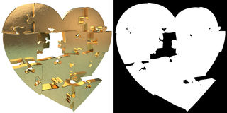 Golden Heart puzzle. Alpha channel Royalty Free Stock Photography