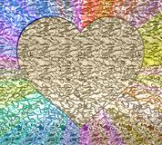Golden heart on a rainbow background.  Stock Images