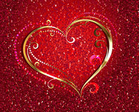 Golden heart on red background Royalty Free Stock Photos