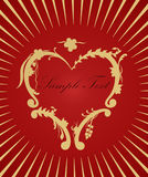 Golden heart on red background. Love concept. Golden floral heart on red background. Valentine's or love card wiht free space for your text and information Royalty Free Stock Photos