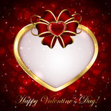 Golden heart with red bow. Red sparkling valentines background with heart and bow, illustration Stock Photo