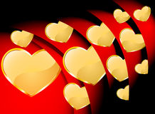 Golden heart with red roll Royalty Free Stock Photo