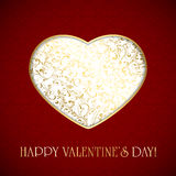 Golden heart on red valentines background Royalty Free Stock Photography