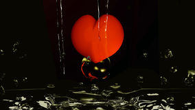 Golden Heart. A red heart with water bubble dives in gold colored water. 3d illustration on black background vector illustration
