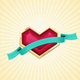 Golden Heart and Ribbon. Ruby heart in gold with ribbon on a light background with rays Royalty Free Stock Photography