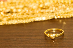 Golden heart ring Stock Photography