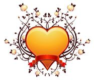 Golden heart with roses, vecto Royalty Free Stock Photo