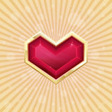 Golden Heart. Ruby heart in gold on a light background with rays Royalty Free Stock Photography