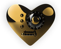 Golden heart safe isolated on withe. Background. 3D render Stock Image