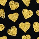 Golden Heart seamless pattern. Black background. Stock Image