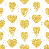 Golden Heart seamless pattern. White background. Royalty Free Stock Photos