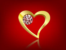 Golden heart shape with diamond. Golden heart shape with shiny diamond in red background Royalty Free Stock Image