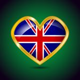 Golden heart shape with the flag of Great Britain. On a green background, vector illustration Royalty Free Stock Images