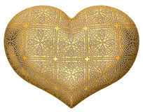 Golden heart shape inlaid with diamonds Royalty Free Stock Photos