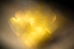 Golden Heart Shaped Bokeh Stock Photography
