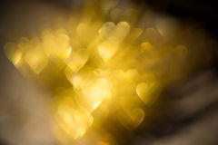 Golden Heart Shaped Bokeh Stock Photos