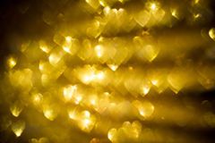 Golden Heart Shaped Bokeh Stock Photo