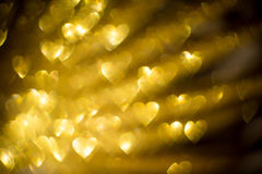 Golden Heart Shaped Bokeh Stock Images