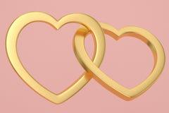 Golden heart shaped frame on pink background 3D illustration.  vector illustration