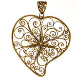 Golden heart shaped ornament Stock Photography