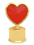 Golden heart shaped prize on white Royalty Free Stock Photo