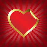 Golden Heart Sticker With Sunburst Royalty Free Stock Photos