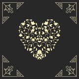 Golden heart in swirls elements for vard design Stock Photos