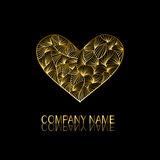 Golden heart symbol. Abstract golden heart sign/symbol, design element. Can be used for corporate identity, company emblem, jewelry shape, print, labels, cards Royalty Free Stock Photo