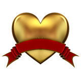 Golden heart symbol with red ribbon. 3d illustration Royalty Free Stock Photos