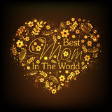 Golden heart with text for Happy Mothers Day celebration. Stock Photography