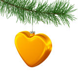 Golden Heart Toy on Christmas Tree. Golden heart toy hanging on the christmas tree isolated on white Royalty Free Stock Photos
