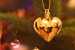 Golden heart tree decoration  Royalty Free Stock Images