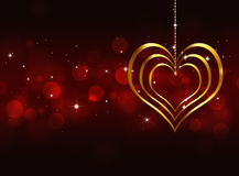 Golden Heart Valentine Red Background Stock Photo