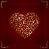 Golden heart on valentines background Stock Photos