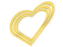 Golden heart on a white background Royalty Free Stock Image