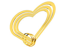 Golden heart on a white background Royalty Free Stock Images