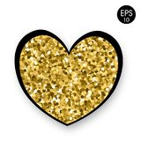 Golden Heart on white background. Valentine`s Day. 14 Fabruary. Vector background wiht heart. For your design Stock Images