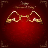 Golden heart with wings Royalty Free Stock Photo