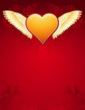 Golden heart with wings, vecto Stock Photos