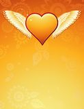Golden heart with wings, vecto Stock Photo