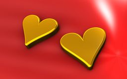 Golden hearts Stock Photo
