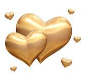 Golden Hearts 3d Stock Photo