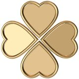 Golden hearts 4 leaves clover Royalty Free Stock Images