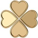 Golden hearts 4 leaves clover. 3d Rendering golden 4 hearts forming 4 leaves clover Royalty Free Stock Images