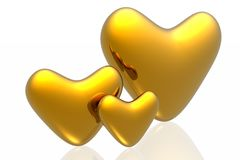 Golden hearts Stock Images