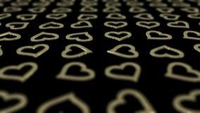 Golden hearts background loop. stock video