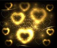 Golden hearts background. Vector illustration Royalty Free Stock Photos