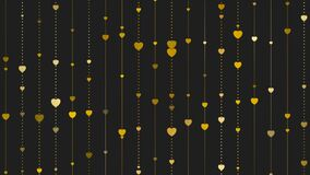 Golden hearts on black background video animation