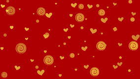 Golden hearts and circles on red background stock video footage