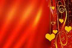 Golden hearts with copy space on a red background Stock Image